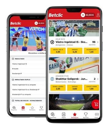 A Betclic oferece duas aplicações. Uma para casino e outro para apostas desportivas