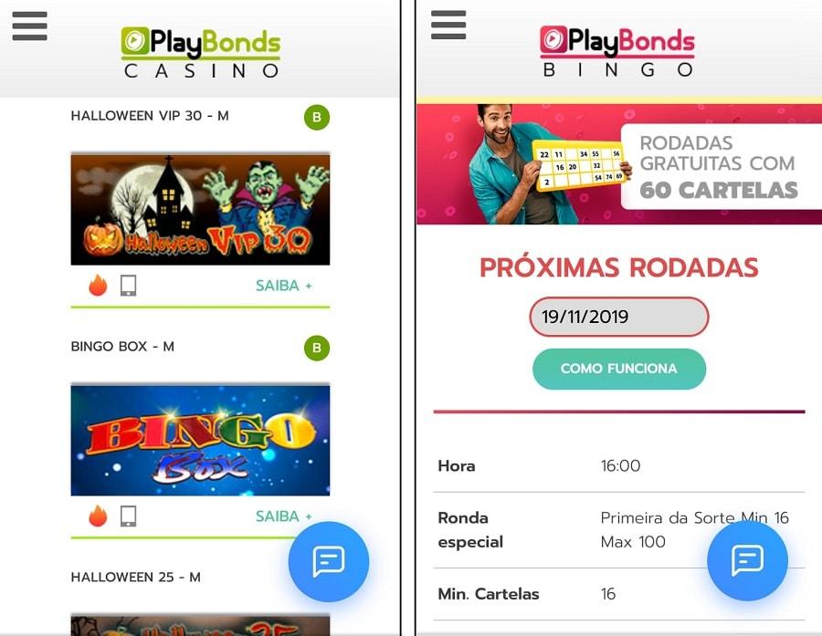 interface do cassino Playbonds mobile