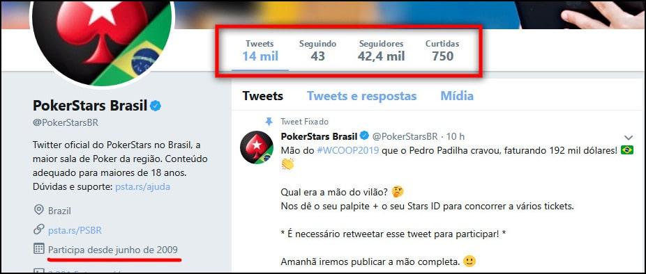PokerStars Brasil tem página no Twitter bastante ativa.