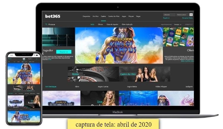 interface do cassino bet365 no desktop e mobile