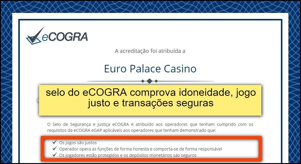 certificado do eCOGRA do Euro Palace Casino