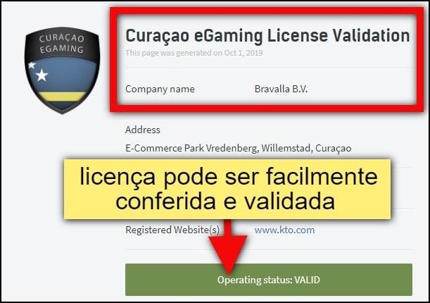 validação online de licença de cassino em Curaçao