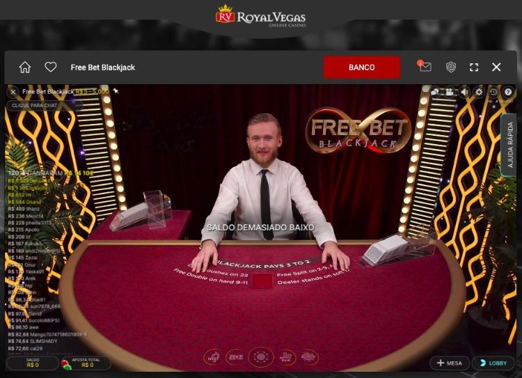 mesa de Blackjack com dealer ao vivo no Royal Vegas cassino