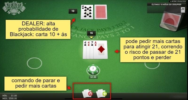 tela com instruções da mesa de blackjack online