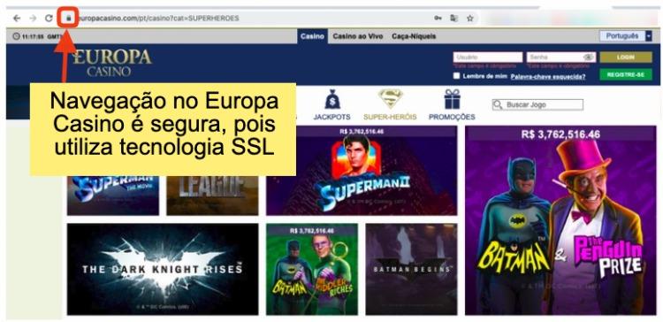 site do europa casino com texto navegação no Europa Casino é segura, pois utiliza tecnologia SSL