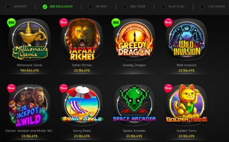 jogos exclusivos no 888 cassino