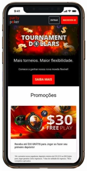 layout partypoker mobile