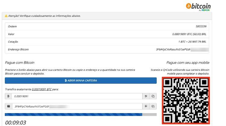 QR code para depositar no cassino online com bitcoin
