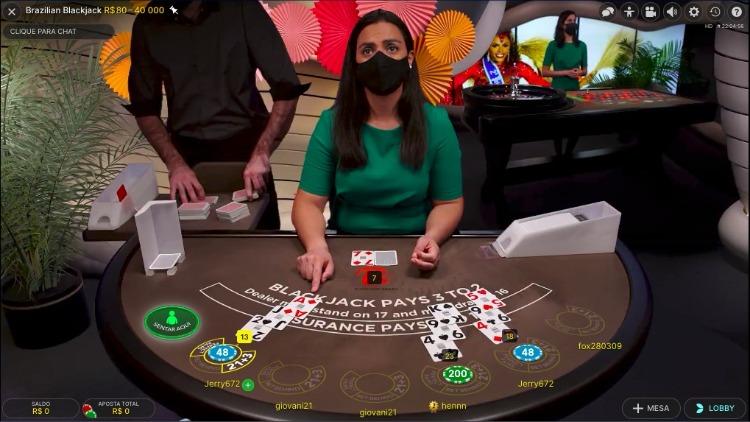 Blackjack brasileiro no cassino ao vivo