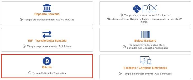 imagem mostrando como selecionar bitcoin no cassino