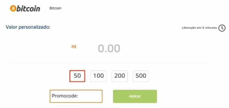 imagem mostrando como depositar com BTC no cassino online