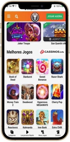 layout com jogos cassino com Neteller Leovegas