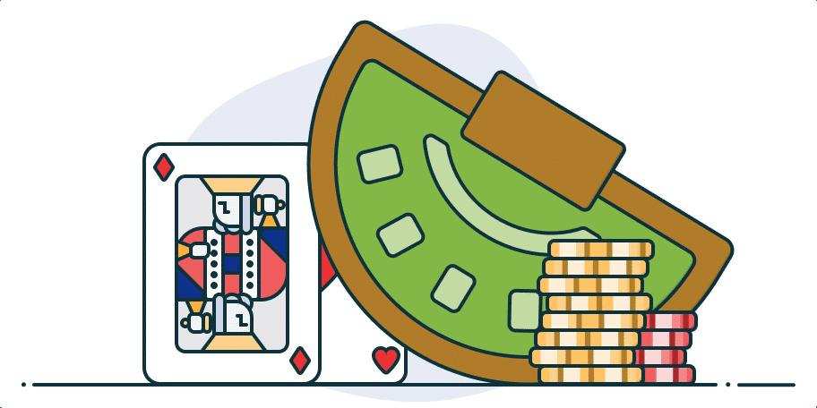 fichas, mesa de blackjack e cartas
