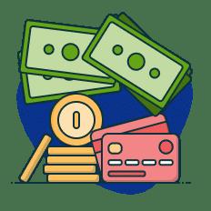 notas, moedas e cartão de crédito