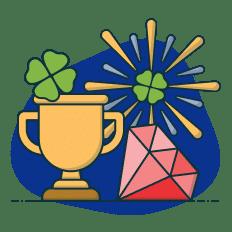 trevo de 4 folhas e troféu