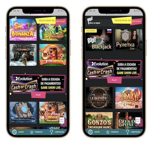 layout do Booi casino no celular