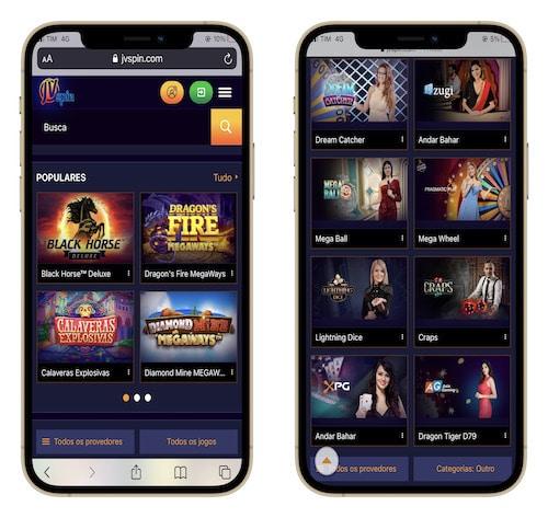 JVSpin casino no celular