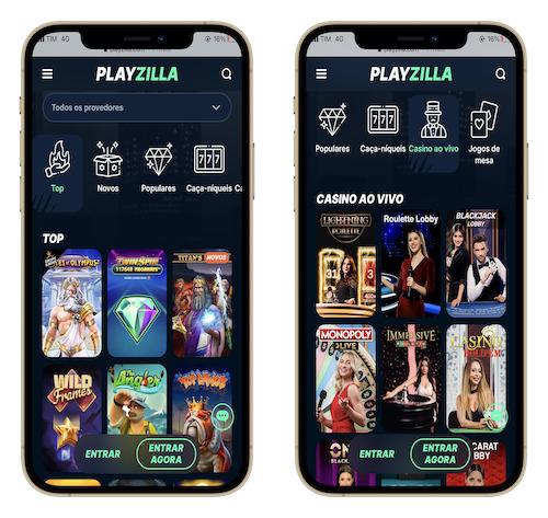 layout do playzilla mobile